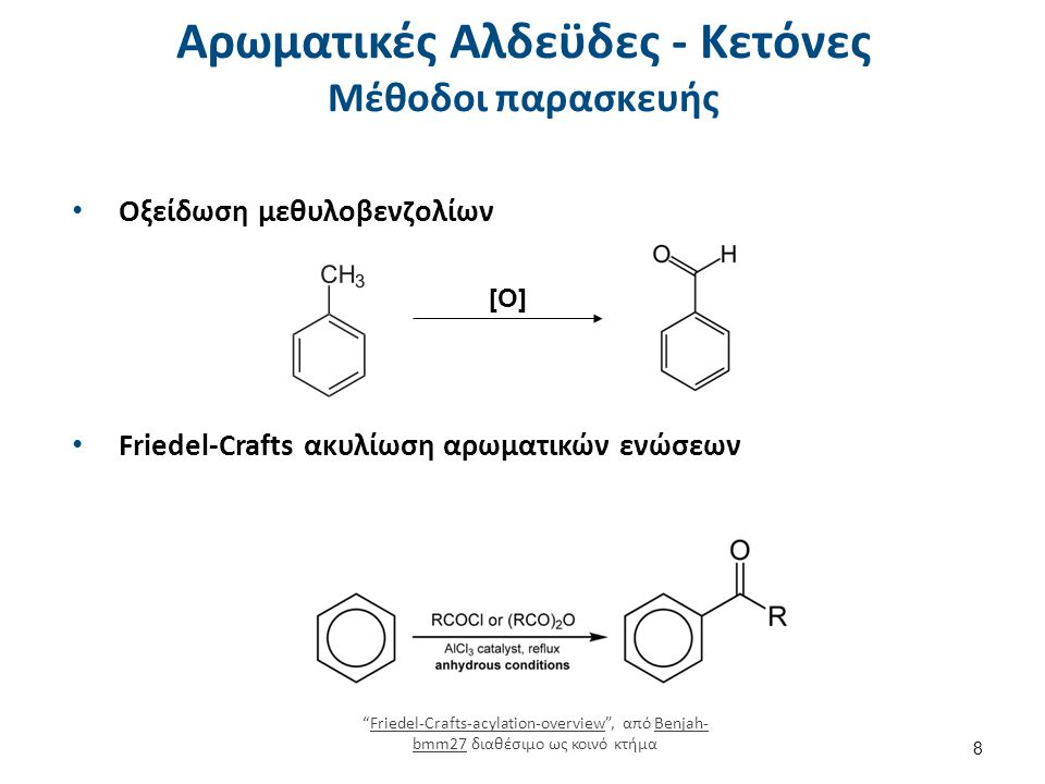 """Αρωματικές Αλδεϋδες - Κετόνες Μέθοδοι παρασκευής Οξείδωση μεθυλοβενζολίων [Ο] Friedel-Crafts ακυλίωση αρωματικών ενώσεων """"Friedel-Crafts-acylation-ove"""