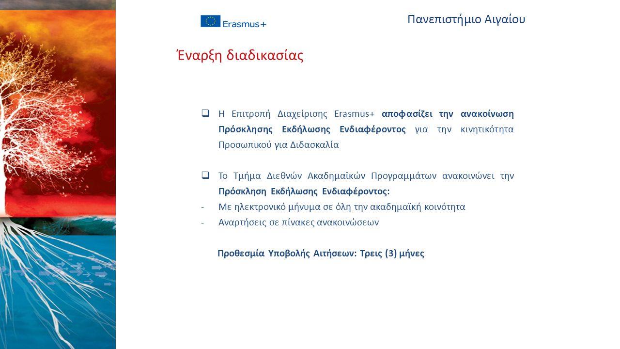  Η Επιτροπή Διαχείρισης Erasmus+ αποφασίζει την ανακοίνωση Πρόσκλησης Εκδήλωσης Ενδιαφέροντος για την κινητικότητα Προσωπικού για Διδασκαλία  Το Τμήμα Διεθνών Ακαδημαϊκών Προγραμμάτων ανακοινώνει την Πρόσκληση Εκδήλωσης Ενδιαφέροντος: -Με ηλεκτρονικό μήνυμα σε όλη την ακαδημαϊκή κοινότητα -Αναρτήσεις σε πίνακες ανακοινώσεων Προθεσμία Υποβολής Αιτήσεων: Τρεις (3) μήνες Πανεπιστήμιο Αιγαίου Έναρξη διαδικασίας