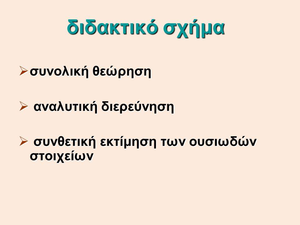 επεξεργασία κειμένου  2 άξονες :  2 άξονες : το ίδιο το κείμενο και εξωκειμενικά στοιχεία που το φωτίζουν  εξετάζεται:  εξετάζεται: η δομή του κειμένου, παράγραφοι, θεματικές ενότητες, οι αφηγηματικές τεχνικές, τα κύρια γνωρίσματα της γλώσσας και τα εκφραστικά μέσα και σχήματα λόγου και γίνεται αξιολογική κρίση του κειμένου (χαρακτηρισμοί προσώπων ή καταστάσεων, αξίες, ιδέες, σύγκριση με άλλα έργα του ίδιου συγγραφέα ή άλλων της ίδιας εποχής ή Σχολής κ.τ.λ.