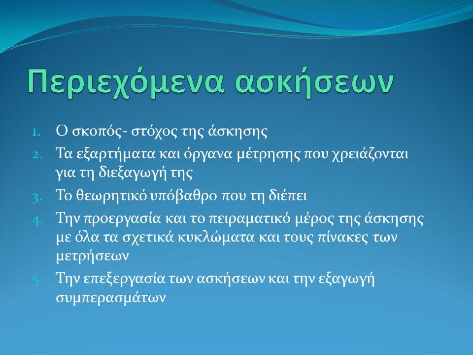 1.Ο σκοπός- στόχος της άσκησης 2. Τα εξαρτήματα και όργανα μέτρησης που χρειάζονται για τη διεξαγωγή της 3. Το θεωρητικό υπόβαθρο που τη διέπει 4. Την