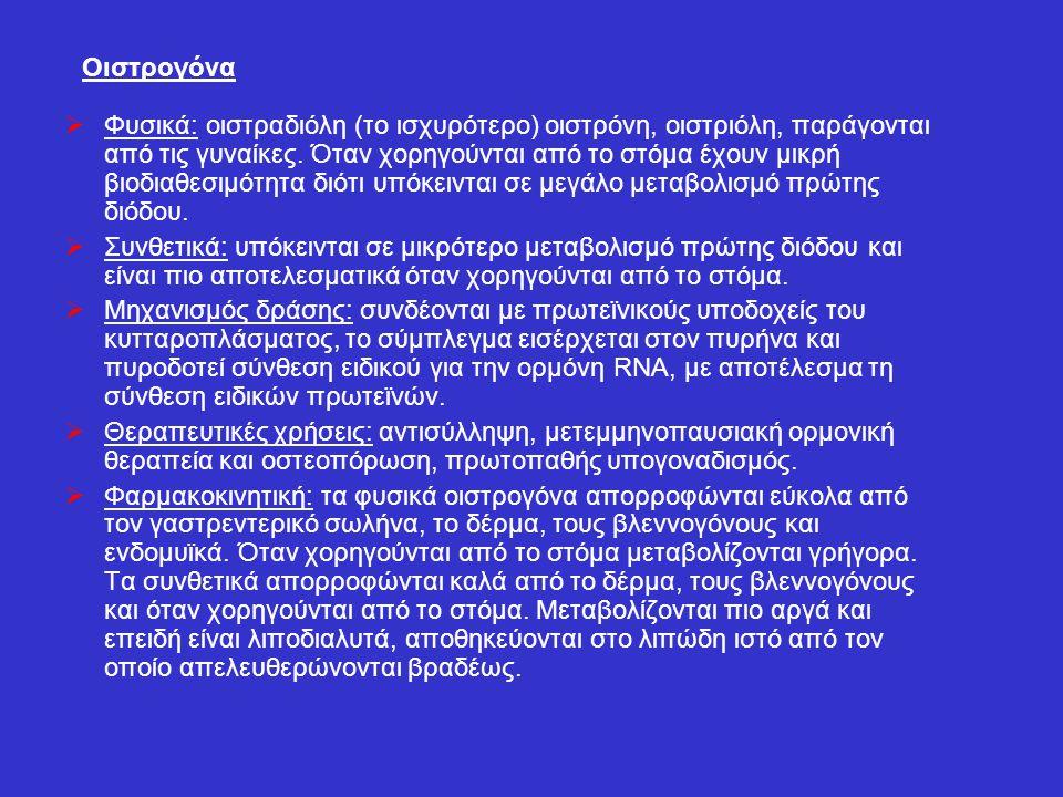 Οιστρογόνα  Φυσικά: οιστραδιόλη (το ισχυρότερο) οιστρόνη, οιστριόλη, παράγονται από τις γυναίκες. Όταν χορηγούνται από το στόμα έχουν μικρή βιοδιαθεσ