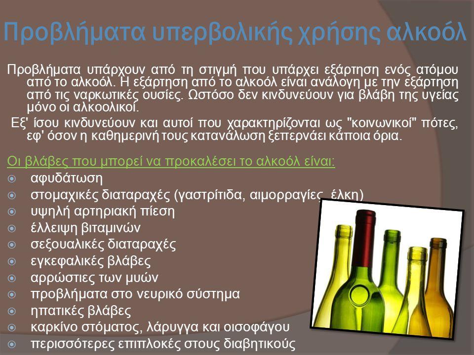 Προβλήματα υπερβολικής χρήσης αλκοόλ Προβλήματα υπάρχουν από τη στιγμή που υπάρχει εξάρτηση ενός ατόμου από το αλκοόλ. Η εξάρτηση από το αλκοόλ είναι