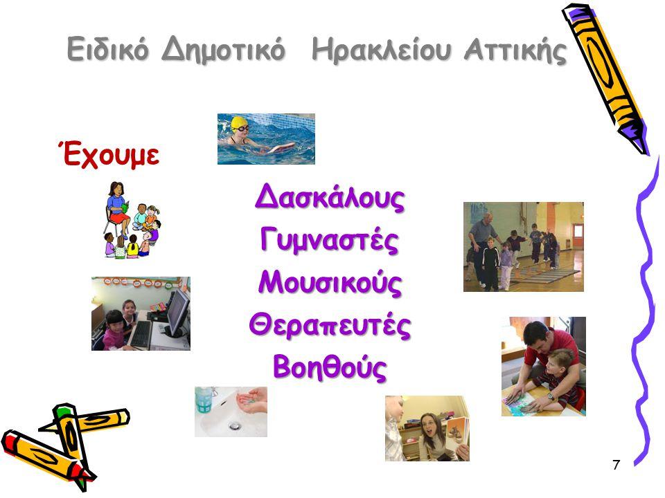 Ειδικό Δημοτικό Ηρακλείου Αττικής 6 Στο σχολείο μας μαθαίνουμε Να μιλάμε Να παίζουμε Να φροντίζουμε τον εαυτό μας Να ζωγραφίζουμε Γράμματα και αριθμούς Να μην κάνουμε αταξίες Γνωρίζουμε τον κόσμο γύρω μας