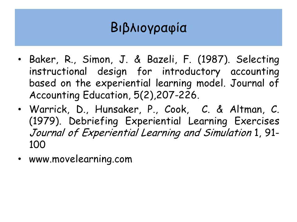 Βιβλιογραφία Baker, R., Simon, J. & Bazeli, F. (1987). Selecting instructional design for introductory accounting based on the experiential learning m