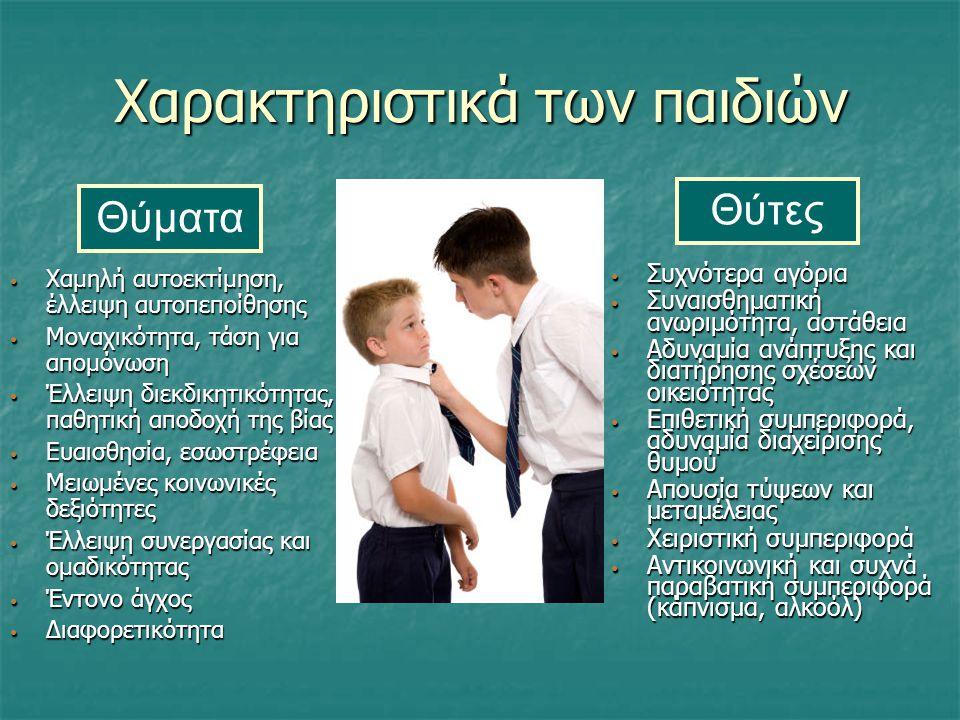 Χαρακτηριστικά των παιδιών Συχνότερα αγόρια Συχνότερα αγόρια Συναισθηματική ανωριμότητα, αστάθεια Συναισθηματική ανωριμότητα, αστάθεια Αδυναμία ανάπτυ