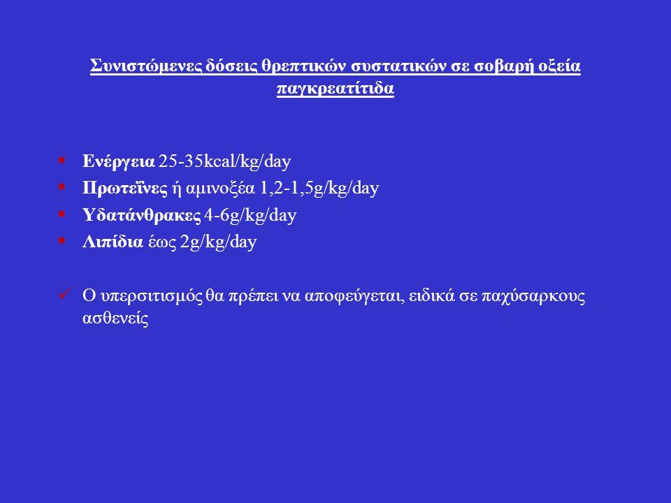 Συνιστώμενες δόσεις θρεπτικών συστατικών σε σοβαρή οξεία παγκρεατίτιδα  Ενέργεια 25-35kcal/kg/day  Πρωτεΐνες ή αμινοξέα 1,2-1,5g/kg/day  Υδατάνθρακ
