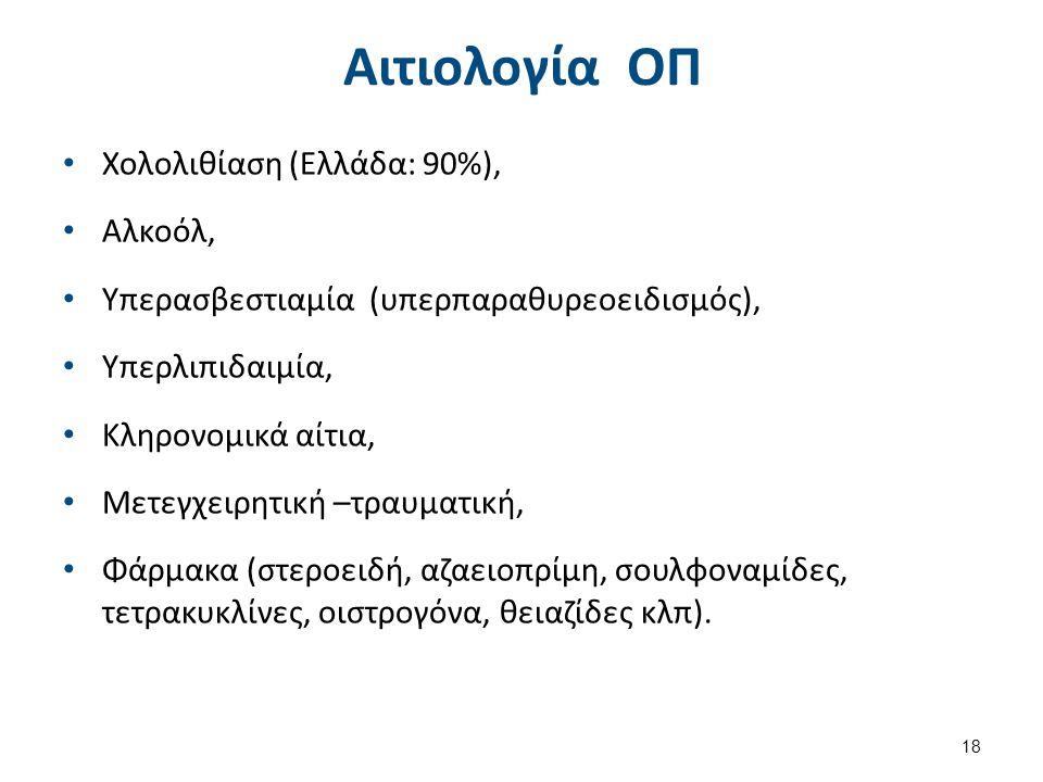Αιτιολογία ΟΠ Χολολιθίαση (Ελλάδα: 90%), Αλκοόλ, Υπερασβεστιαμία (υπερπαραθυρεοειδισμός), Υπερλιπιδαιμία, Κληρονομικά αίτια, Μετεγχειρητική –τραυματική, Φάρμακα (στεροειδή, αζαειοπρίμη, σουλφοναμίδες, τετρακυκλίνες, οιστρογόνα, θειαζίδες κλπ).