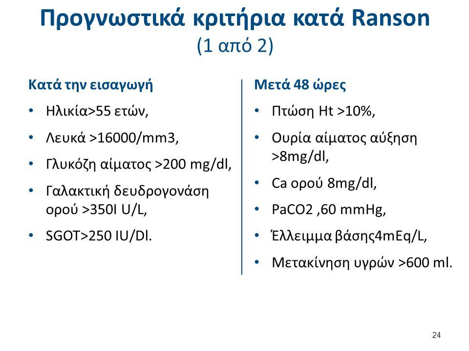 Προγνωστικά κριτήρια κατά Ranson (1 από 2) Κατά την εισαγωγή Ηλικία>55 ετών, Λευκά >16000/mm3, Γλυκόζη αίματος >200 mg/dl, Γαλακτική δευδρογονάση ορού >350I U/L, SGOT>250 IU/Dl.