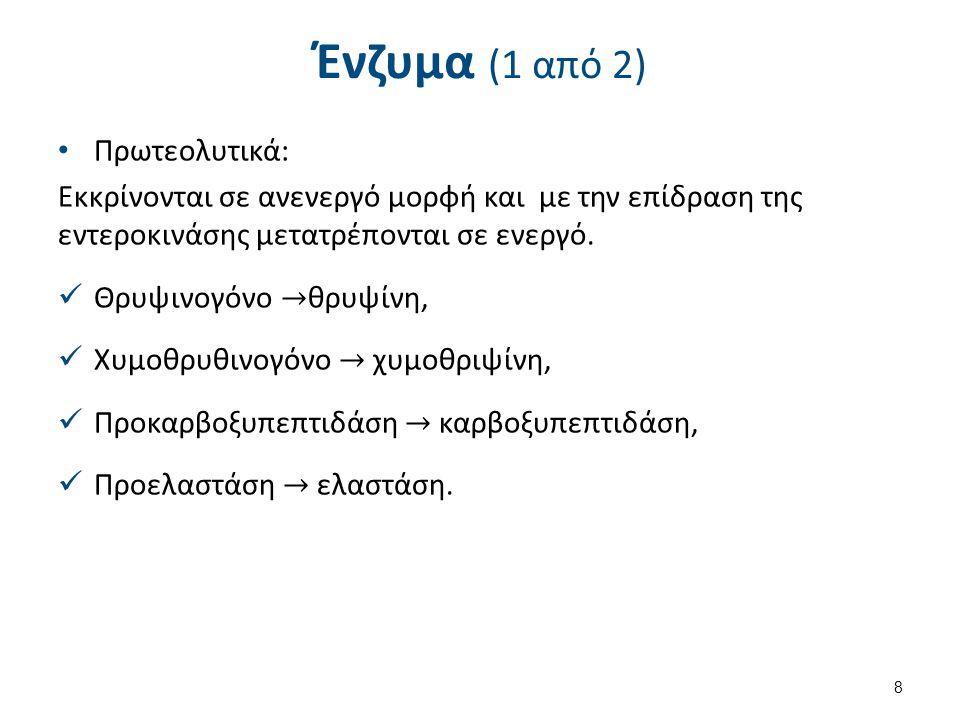 Ένζυμα (2 από 2) Λιπολυτικά, o Λιπάση, σιλλιπάση, φωσφολιπάση Α2. Αμυλολυτικά, o Αμυλάση. 9