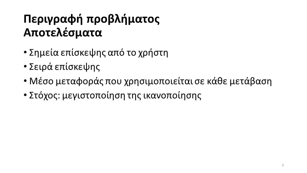 Περιγραφή προβλήματος Αποτελέσματα Σημεία επίσκεψης από το χρήστη Σειρά επίσκεψης Μέσο μεταφοράς που χρησιμοποιείται σε κάθε μετάβαση Στόχος: μεγιστοποίηση της ικανοποίησης 4