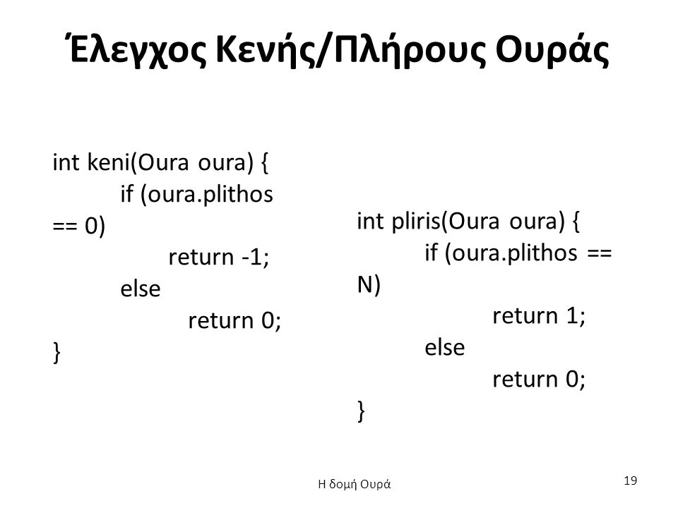 Έλεγχος Κενής/Πλήρους Ουράς int keni(Oura oura) { if (oura.plithos == 0) return -1; else return 0; } int pliris(Oura oura) { if (oura.plithos == N) re
