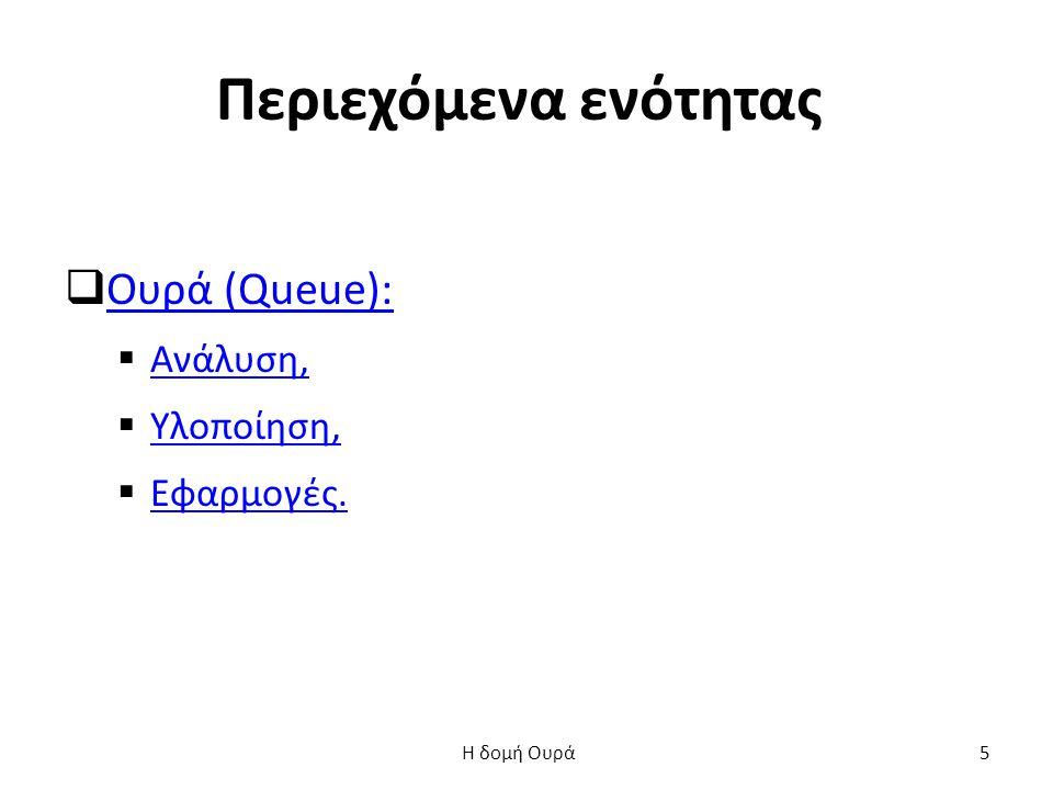 Υλοποίηση Ουράς: main() (1 από 2) int main() { Oura O; float x; int epil; dimiourgia(&O); do { printf( \n\n 1.