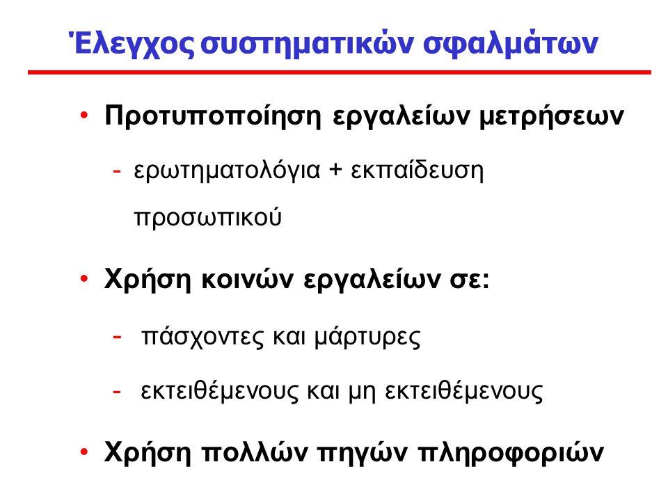 Έλεγχος συστηματικών σφαλμάτων Προτυποποίηση εργαλείων μετρήσεων -ερωτηματολόγια + εκπαίδευση προσωπικού Χρήση κοινών εργαλείων σε: - πάσχοντες και μάρτυρες - εκτειθέμενους και μη εκτειθέμενους Χρήση πολλών πηγών πληροφοριών
