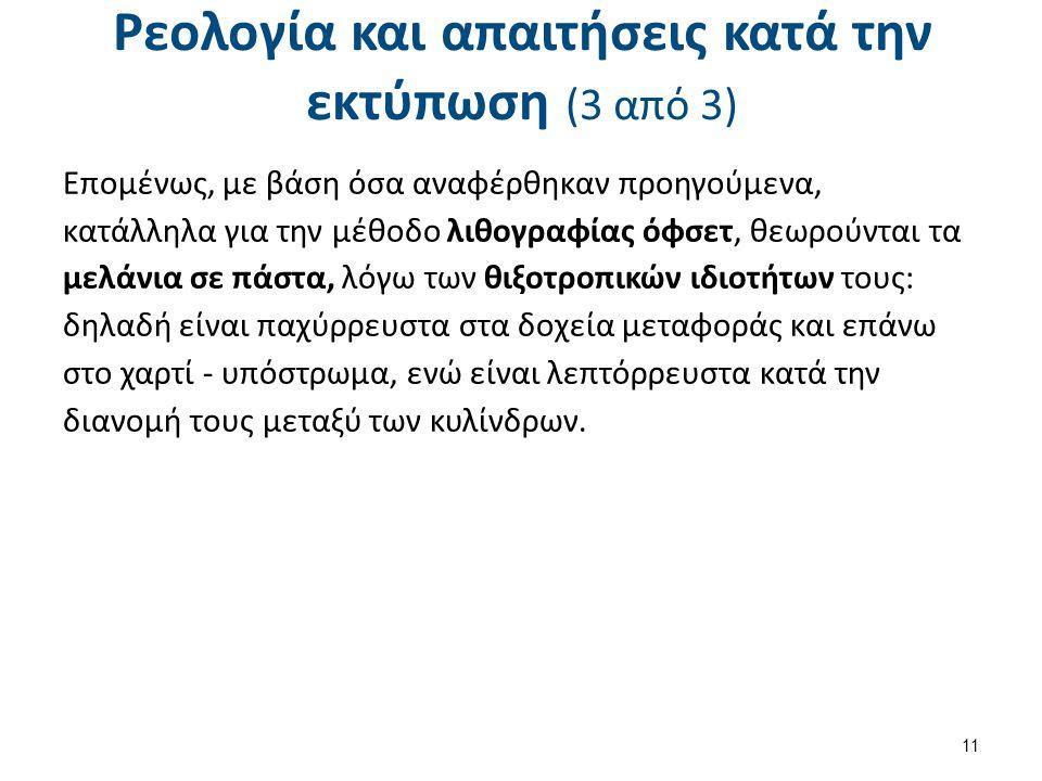 Ρεολογία και απαιτήσεις κατά την εκτύπωση (3 από 3) Επομένως, με βάση όσα αναφέρθηκαν προηγούμενα, κατάλληλα για την μέθοδο λιθογραφίας όφσετ, θεωρούν