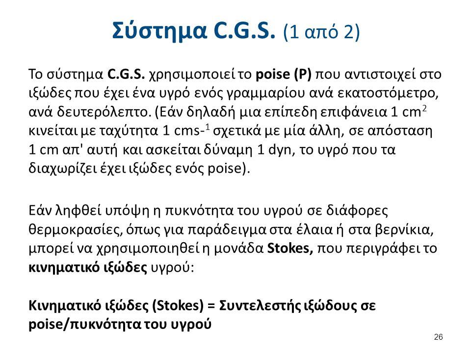 Σύστημα C.G.S. (1 από 2) Το σύστημα C.G.S. χρησιμοποιεί το poise (Ρ) που αντιστοιχεί στο ιξώδες που έχει ένα υγρό ενός γραμμαρίου ανά εκατοστόμετρο, α