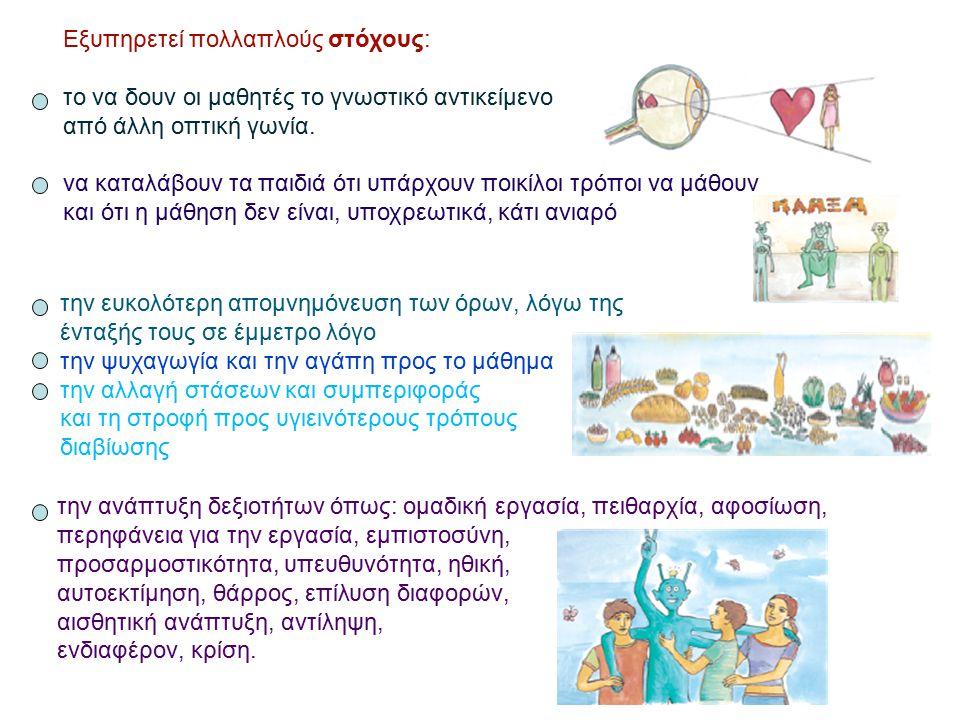 Εξυπηρετεί πολλαπλούς στόχους: το να δουν οι μαθητές το γνωστικό αντικείμενο από άλλη οπτική γωνία. να καταλάβουν τα παιδιά ότι υπάρχουν ποικίλοι τρόπ