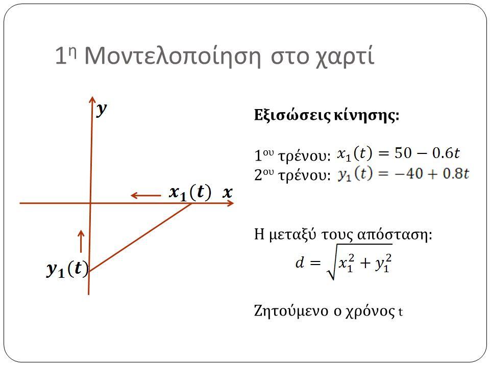 1 η Μοντελοποίηση στο χαρτί Εξισώσεις κίνησης: 1 ου τρένου: 2 ου τρένου: Η μεταξύ τους απόσταση: Ζητούμενο ο χρόνος t