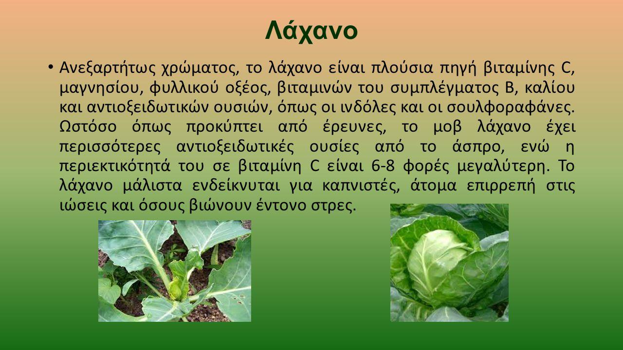 Λάχανο Ανεξαρτήτως χρώματος, το λάχανο είναι πλούσια πηγή βιταμίνης C, μαγνησίου, φυλλικού οξέος, βιταμινών του συμπλέγματος B, καλίου και αντιοξειδωτ