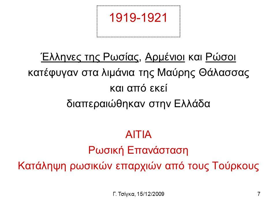 Γ. Τσίγκα, 15/12/20097 1919-1921 Έλληνες της Ρωσίας, Αρμένιοι και Ρώσοι κατέφυγαν στα λιμάνια της Μαύρης Θάλασσας και από εκεί διαπεραιώθηκαν στην Ελλ