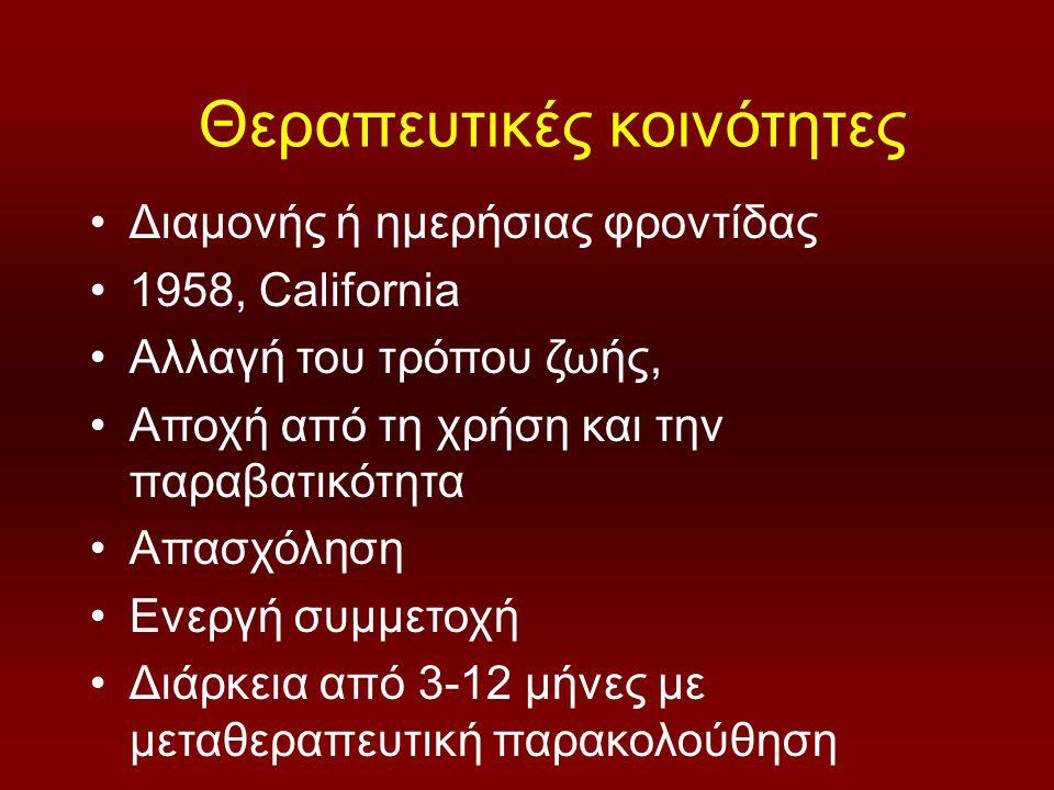 Θεραπευτικές κοινότητες Διαμονής ή ημερήσιας φροντίδας 1958, California Αλλαγή του τρόπου ζωής, Αποχή από τη χρήση και την παραβατικότητα Απασχόληση Ενεργή συμμετοχή Διάρκεια από 3-12 μήνες με μεταθεραπευτική παρακολούθηση