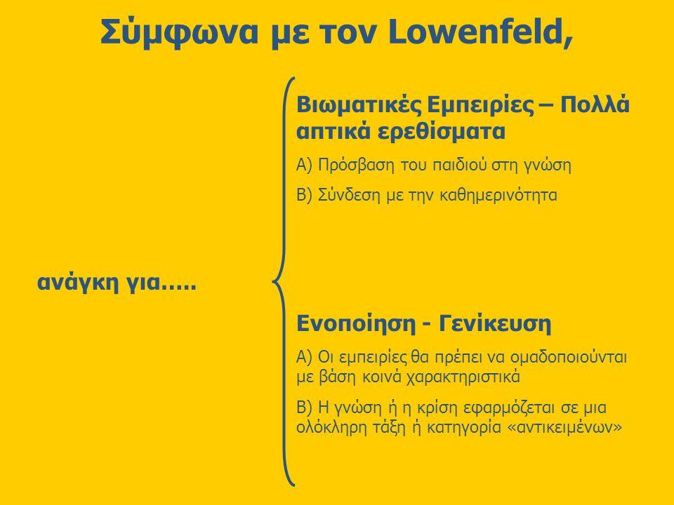 Σύμφωνα με τον Lowenfeld, Βιωματικές Εμπειρίες – Πολλά απτικά ερεθίσματα Α) Πρόσβαση του παιδιού στη γνώση Β) Σύνδεση με την καθημερινότητα Ενοποίηση - Γενίκευση Α) Οι εμπειρίες θα πρέπει να ομαδοποιούνται με βάση κοινά χαρακτηριστικά Β) Η γνώση ή η κρίση εφαρμόζεται σε μια ολόκληρη τάξη ή κατηγορία «αντικειμένων» ανάγκη για…..