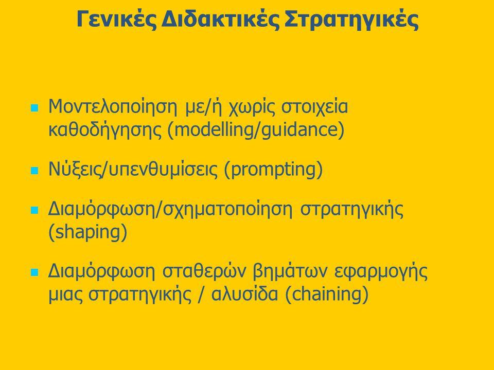 Γενικές Διδακτικές Στρατηγικές Μοντελοποίηση με/ή χωρίς στοιχεία καθοδήγησης (modelling/guidance) Νύξεις/υπενθυμίσεις (prompting) Διαμόρφωση/σχηματοποίηση στρατηγικής (shaping) Διαμόρφωση σταθερών βημάτων εφαρμογής μιας στρατηγικής / αλυσίδα (chaining)