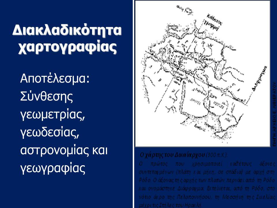 Διακλαδικότητα χαρτογραφίας Αποτέλεσμα: Σύνθεσης γεωμετρίας, γεωδεσίας, αστρονομίας και γεωγραφίας