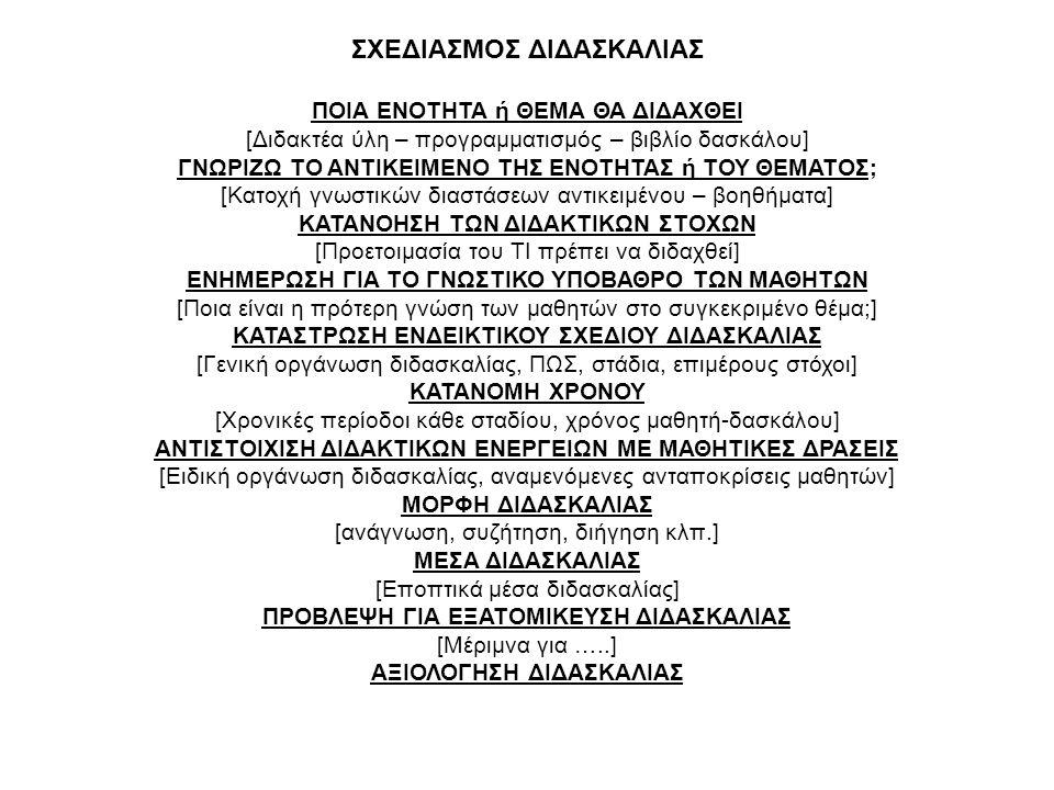 ΣΧΕΔΙΑΣΜΟΣ ΔΙΔΑΣΚΑΛΙΑΣ ΠΟΙΑ ΕΝΟΤΗΤΑ ή ΘΕΜΑ ΘΑ ΔΙΔΑΧΘΕΙ [Διδακτέα ύλη – προγραμματισμός – βιβλίο δασκάλου] ΓΝΩΡΙΖΩ ΤΟ ΑΝΤΙΚΕΙΜΕΝΟ ΤΗΣ ΕΝΟΤΗΤΑΣ ή ΤΟΥ ΘΕ