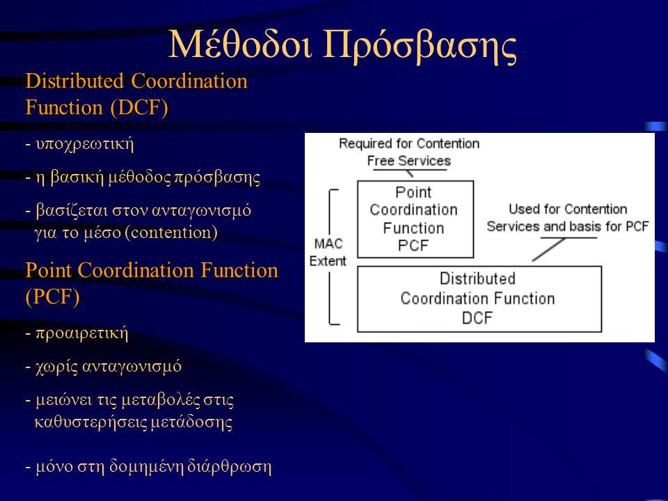 Distributed Coordination Function (DCF) - υποχρεωτική - η βασική μέθοδος πρόσβασης - βασίζεται στον ανταγωνισμό για το μέσο (contention) Point Coordin