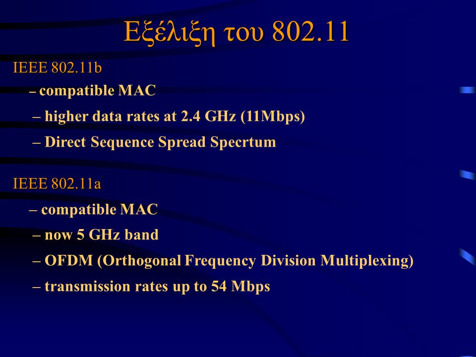 IEEE 802.11b – compatible MAC – higher data rates at 2.4 GHz (11Mbps) – Direct Sequence Spread Specrtum IEEE 802.11a – compatible MAC – now 5 GHz band – OFDM (Orthogonal Frequency Division Multiplexing) – transmission rates up to 54 Mbps Εξέλιξη του 802.11