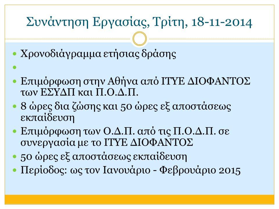 Συνάντηση Εργασίας, Τρίτη, 18-11-2014 Χρονοδιάγραμμα ετήσιας δράσης Επιμόρφωση στην Αθήνα από ΙΤΥΕ ΔΙΟΦΑΝΤΟΣ των ΕΣΥΔΠ και Π.Ο.Δ.Π.