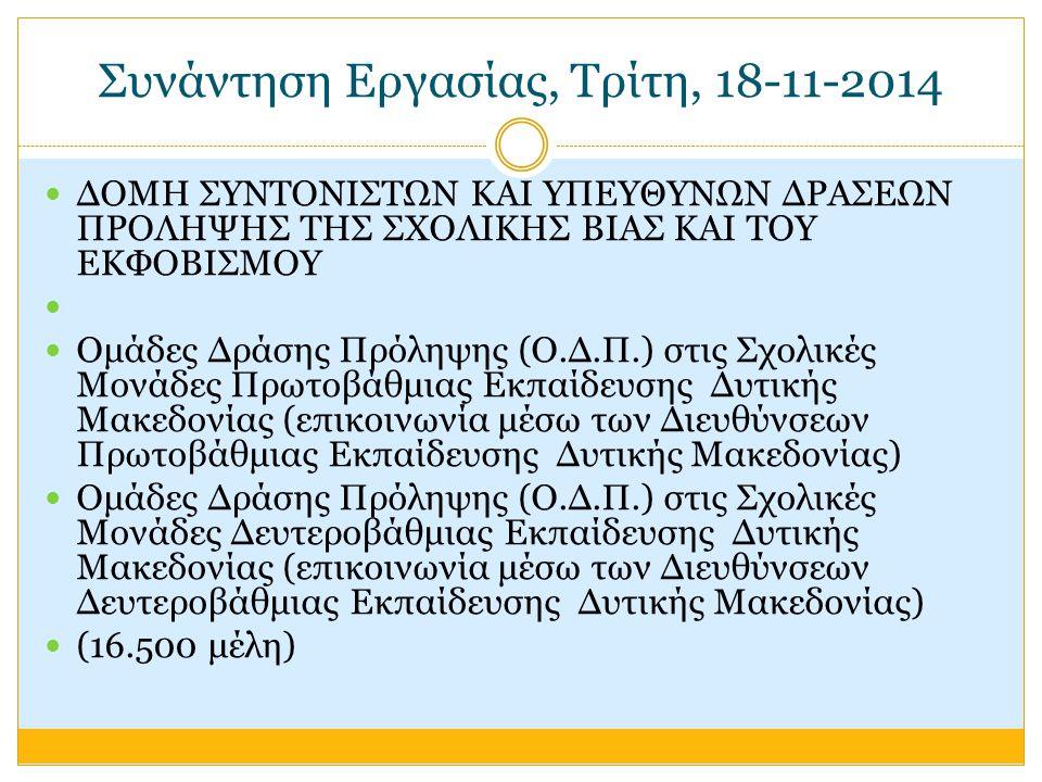 Συνάντηση Εργασίας, Τρίτη, 18-11-2014 ΔΟΜΗ ΣΥΝΤΟΝΙΣΤΩΝ ΚΑΙ ΥΠΕΥΘΥΝΩΝ ΔΡΑΣΕΩΝ ΠΡΟΛΗΨΗΣ ΤΗΣ ΣΧΟΛΙΚΗΣ ΒΙΑΣ ΚΑΙ ΤΟΥ ΕΚΦΟΒΙΣΜΟΥ Ομάδες Δράσης Πρόληψης (Ο.Δ.Π.) στις Σχολικές Μονάδες Πρωτοβάθμιας Εκπαίδευσης Δυτικής Μακεδονίας (επικοινωνία μέσω των Διευθύνσεων Πρωτοβάθμιας Εκπαίδευσης Δυτικής Μακεδονίας) Ομάδες Δράσης Πρόληψης (Ο.Δ.Π.) στις Σχολικές Μονάδες Δευτεροβάθμιας Εκπαίδευσης Δυτικής Μακεδονίας (επικοινωνία μέσω των Διευθύνσεων Δευτεροβάθμιας Εκπαίδευσης Δυτικής Μακεδονίας) (16.500 μέλη)