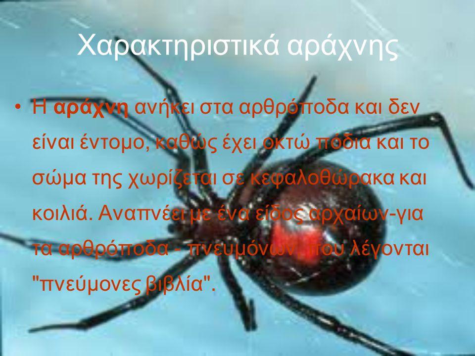 Χαρακτηριστικά αράχνης Η αράχνη ανήκει στα αρθρόποδα και δεν είναι έντομο, καθώς έχει οκτώ πόδια και το σώμα της χωρίζεται σε κεφαλοθώρακα και κοιλιά.
