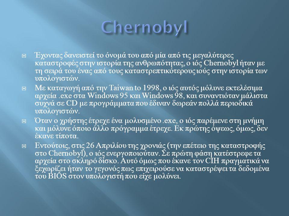  Έχοντας δανειστεί το όνομά του από μία από τις μεγαλύτερες καταστροφές στην ιστορία της ανθρωπότητας, ο ιός Chernobyl ήταν με τη σειρά του ένας από