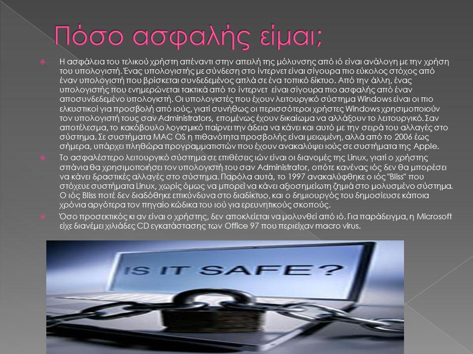  Η ασφάλεια του τελικού χρήστη απέναντι στην απειλή της μόλυνσης από ιό είναι ανάλογη με την χρήση του υπολογιστή.