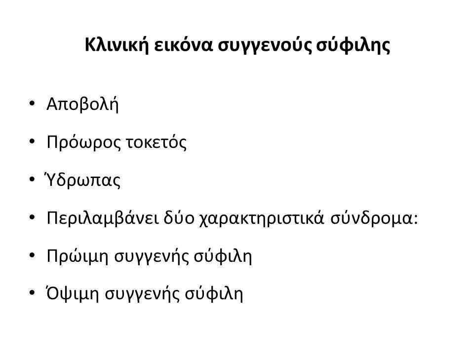 Κλινική εικόνα συγγενούς σύφιλης Αποβολή Πρόωρος τοκετός Ύδρωπας Περιλαμβάνει δύο χαρακτηριστικά σύνδρομα: Πρώιμη συγγενής σύφιλη Όψιμη συγγενής σύφιλ
