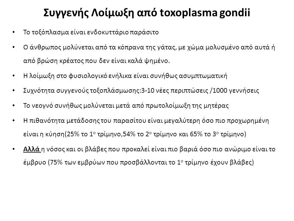 Συγγενής Λοίμωξη από toxoplasma gondii Το τοξόπλασμα είναι ενδοκυττάριο παράσιτο Ο άνθρωπος μολύνεται από τα κόπρανα της γάτας, με χώμα μολυσμένο από