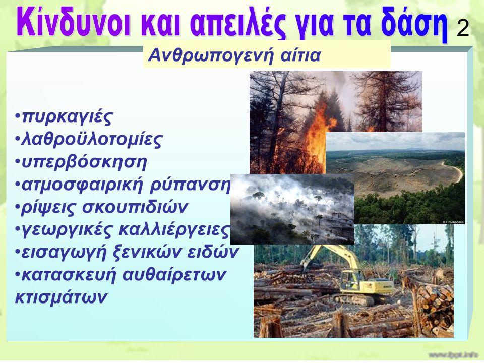πυρκαγιές λαθροϋλοτομίες υπερβόσκηση ατμοσφαιρική ρύπανση ρίψεις σκουπιδιών γεωργικές καλλιέργειες εισαγωγή ξενικών ειδών κατασκευή αυθαίρετων κτισμάτ