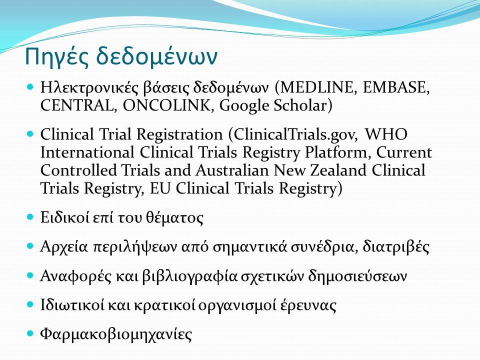 Πηγές δεδομένων Ηλεκτρονικές βάσεις δεδομένων (MEDLINE, EMBASE, CENTRAL, ONCOLINK, Google Scholar) Clinical Trial Registration (ClinicalTrials.gov, WHO International Clinical Trials Registry Platform, Current Controlled Trials and Australian New Zealand Clinical Trials Registry, EU Clinical Trials Registry) Ειδικοί επί του θέματος Αρχεία περιλήψεων από σημαντικά συνέδρια, διατριβές Αναφορές και βιβλιογραφία σχετικών δημοσιεύσεων Ιδιωτικοί και κρατικοί οργανισμοί έρευνας Φαρμακοβιομηχανίες