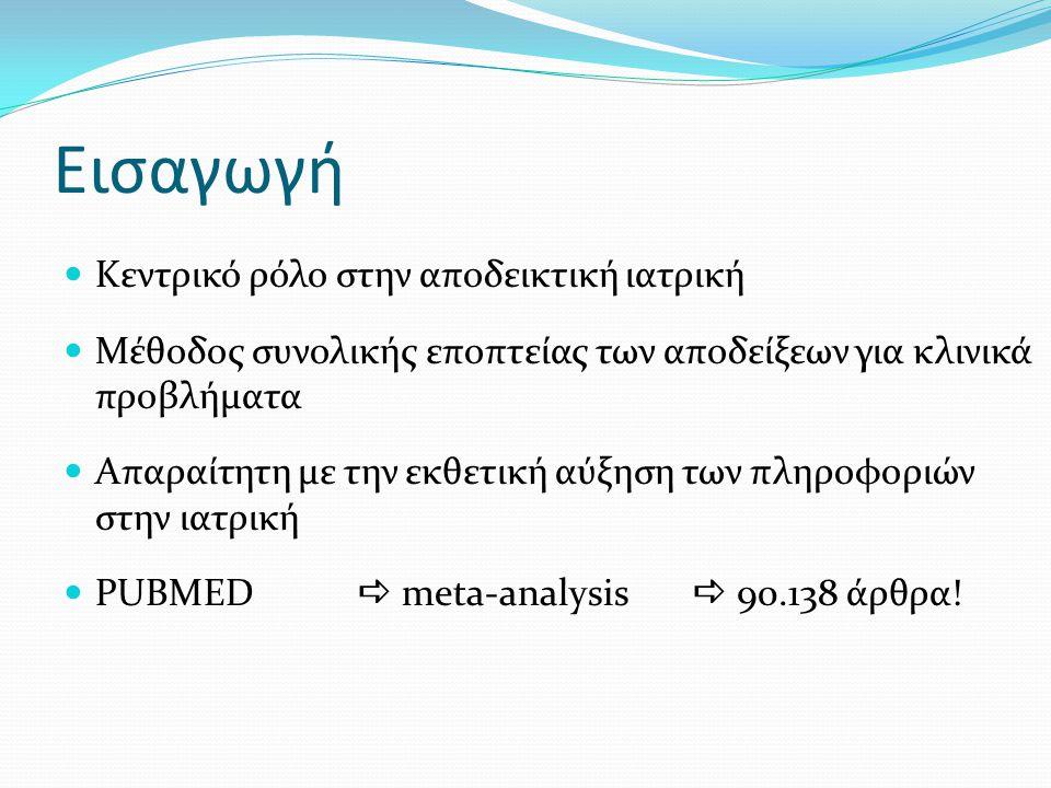 Εισαγωγή Κεντρικό ρόλο στην αποδεικτική ιατρική Μέθοδος συνολικής εποπτείας των αποδείξεων για κλινικά προβλήματα Απαραίτητη με την εκθετική αύξηση των πληροφοριών στην ιατρική PUBMED  meta-analysis  90.138 άρθρα!
