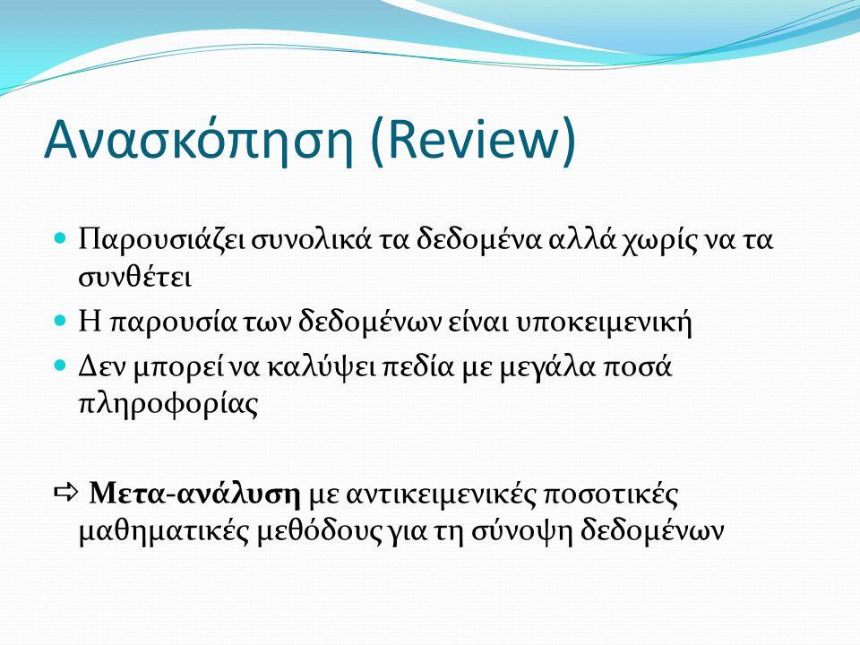 Aνασκόπηση (Review) Παρουσιάζει συνολικά τα δεδομένα αλλά χωρίς να τα συνθέτει Η παρουσία των δεδομένων είναι υποκειμενική Δεν μπορεί να καλύψει πεδία με μεγάλα ποσά πληροφορίας  Μετα-ανάλυση με αντικειμενικές ποσοτικές μαθηματικές μεθόδους για τη σύνοψη δεδομένων