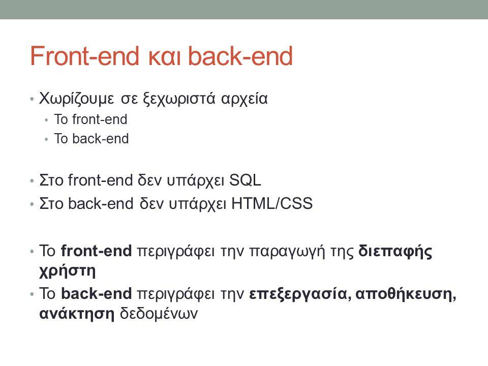Front-end και back-end Χωρίζουμε σε ξεχωριστά αρχεία Το front-end Το back-end Στο front-end δεν υπάρχει SQL Στο back-end δεν υπάρχει HTML/CSS Το front-end περιγράφει την παραγωγή της διεπαφής χρήστη Το back-end περιγράφει την επεξεργασία, αποθήκευση, ανάκτηση δεδομένων