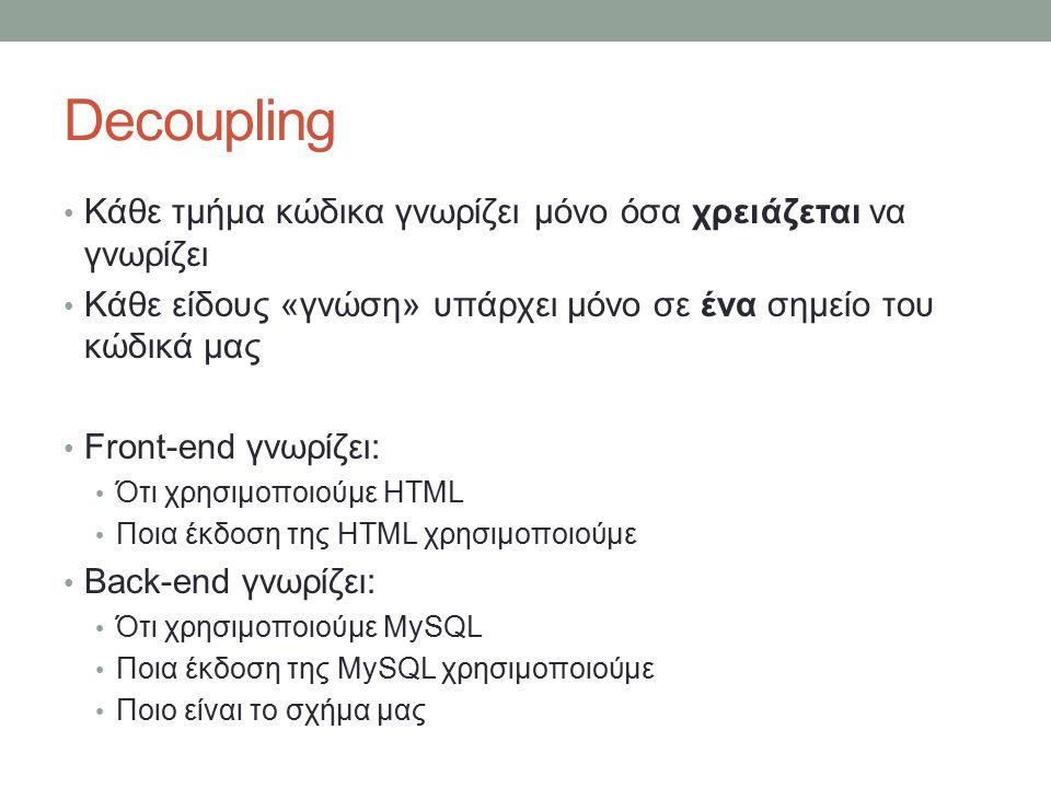 Decoupling Κάθε τμήμα κώδικα γνωρίζει μόνο όσα χρειάζεται να γνωρίζει Κάθε είδους «γνώση» υπάρχει μόνο σε ένα σημείο του κώδικά μας Front-end γνωρίζει: Ότι χρησιμοποιούμε HTML Ποια έκδοση της HTML χρησιμοποιούμε Back-end γνωρίζει: Ότι χρησιμοποιούμε MySQL Ποια έκδοση της MySQL χρησιμοποιούμε Ποιο είναι το σχήμα μας