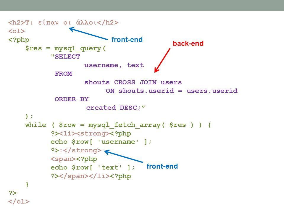 Τι είπαν οι άλλοι <?php $res = mysql_query( SELECT username, text FROM shouts CROSS JOIN users ON shouts.userid = users.userid ORDER BY created DESC; ); while ( $row = mysql_fetch_array( $res ) ) { ?> <?php echo $row[ username ]; ?>: <?php echo $row[ text ]; ?> <?php } ?> back-end front-end
