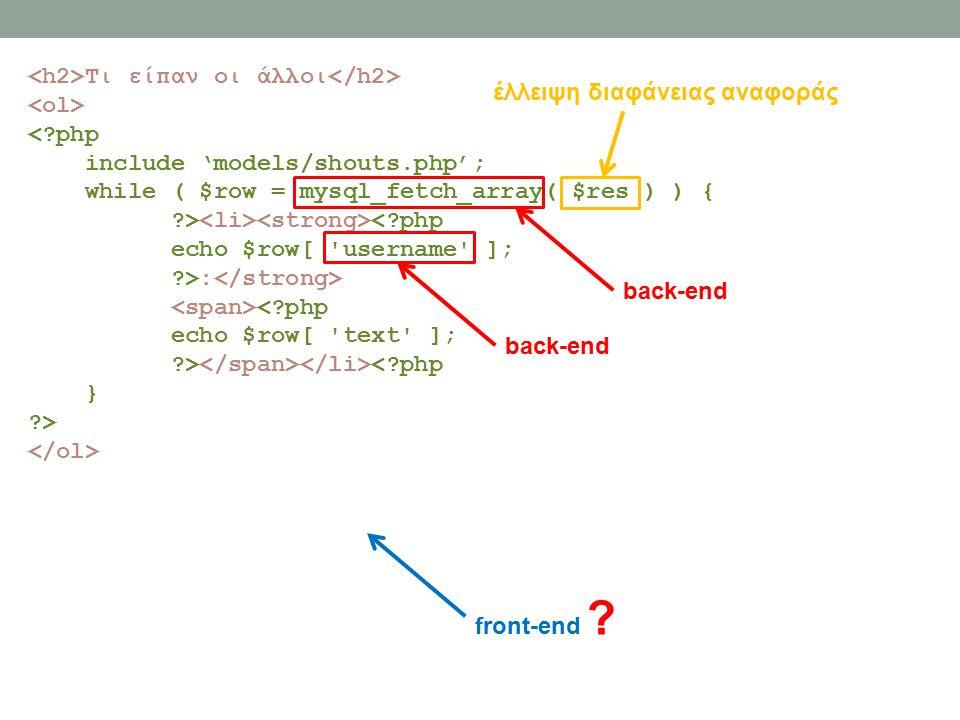 Τι είπαν οι άλλοι < php include 'models/shouts.php'; while ( $row = mysql_fetch_array( $res ) ) { > < php echo $row[ username ]; >: < php echo $row[ text ]; > < php } > front-end .