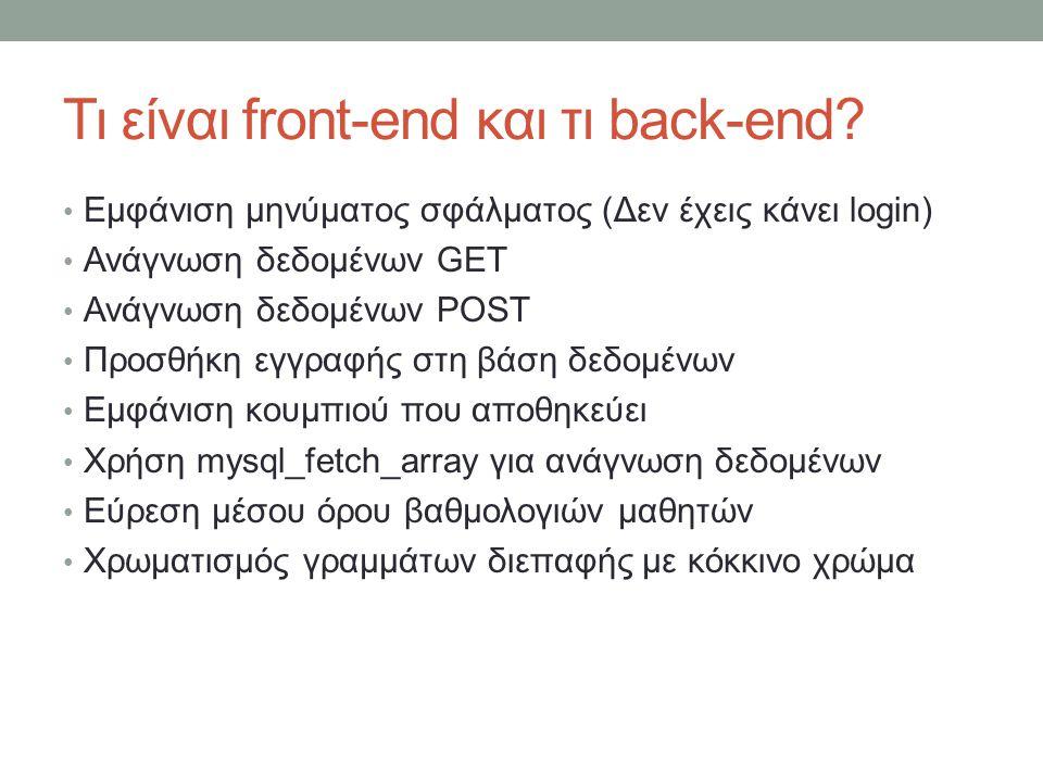 Τι είναι front-end και τι back-end? Εμφάνιση μηνύματος σφάλματος (Δεν έχεις κάνει login) Ανάγνωση δεδομένων GET Ανάγνωση δεδομένων POST Προσθήκη εγγρα