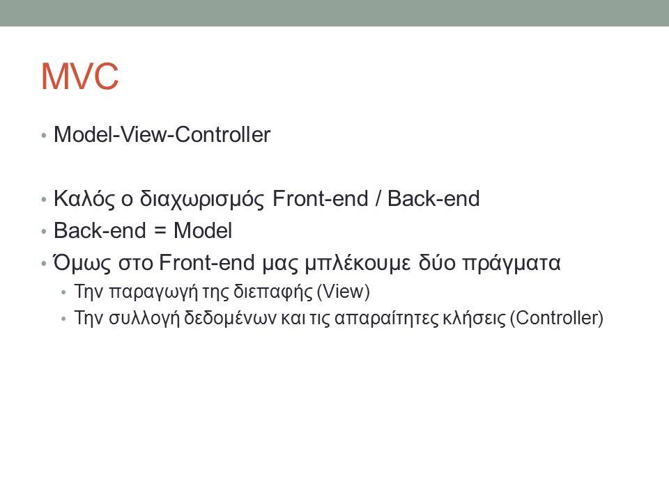 MVC Model-View-Controller Καλός ο διαχωρισμός Front-end / Back-end Back-end = Model Όμως στο Front-end μας μπλέκουμε δύο πράγματα Την παραγωγή της διεπαφής (View) Την συλλογή δεδομένων και τις απαραίτητες κλήσεις (Controller)