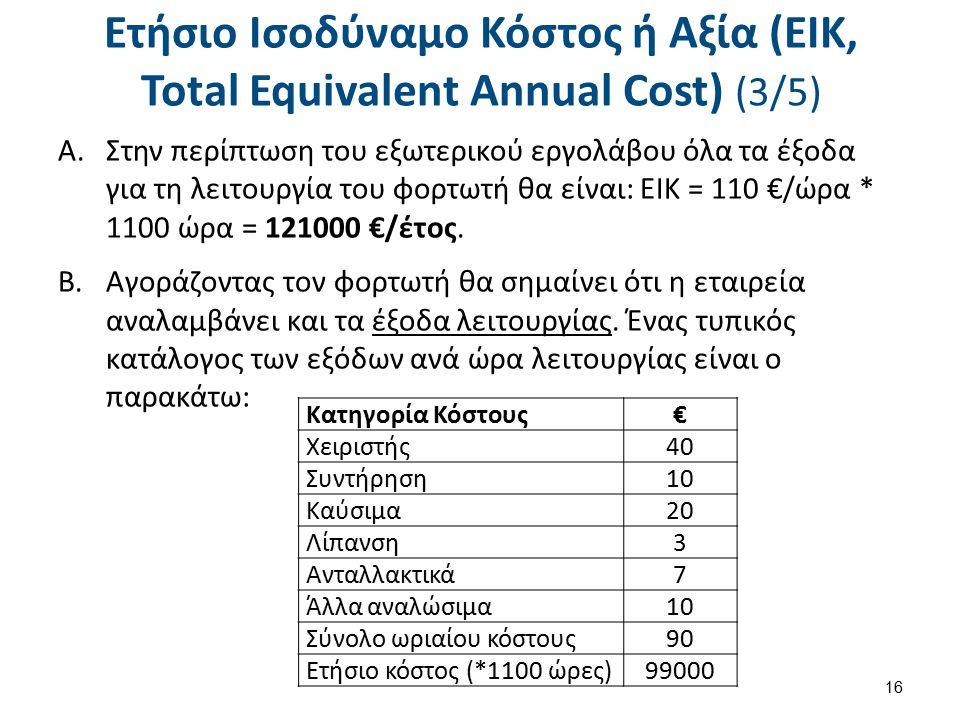 Ετήσιο Ισοδύναμο Κόστος ή Αξία (ΕΙΚ, Total Equivalent Annual Cost) (3/5) A.Στην περίπτωση του εξωτερικού εργολάβου όλα τα έξοδα για τη λειτουργία του φορτωτή θα είναι: ΕΙΚ = 110 €/ώρα * 1100 ώρα = 121000 €/έτος.