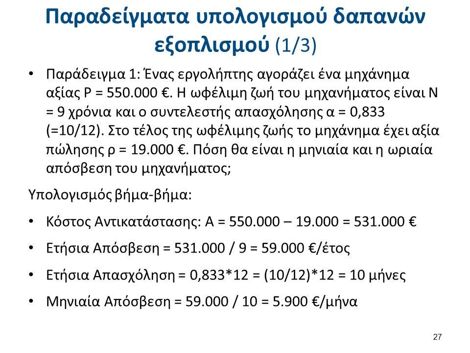 Παραδείγματα υπολογισμού δαπανών εξοπλισμού (1/3) Παράδειγμα 1: Ένας εργολήπτης αγοράζει ένα μηχάνημα αξίας Ρ = 550.000 €. Η ωφέλιμη ζωή του μηχανήματ