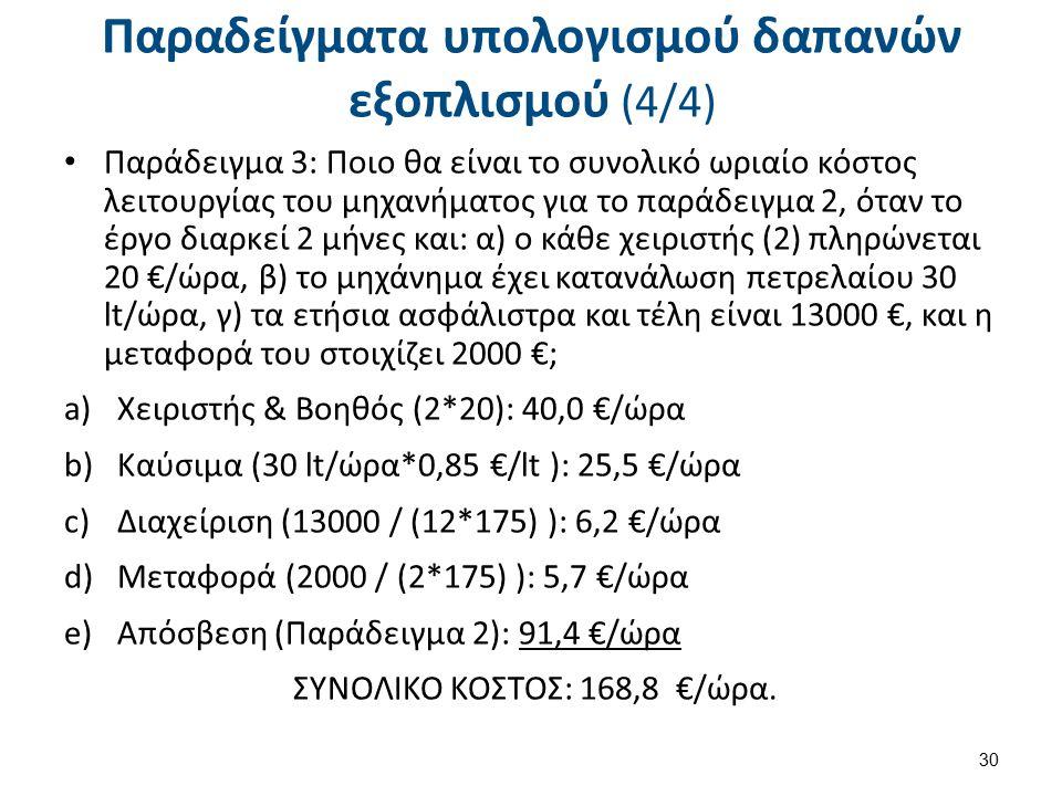 Παραδείγματα υπολογισμού δαπανών εξοπλισμού (4/4) Παράδειγμα 3: Ποιο θα είναι το συνολικό ωριαίο κόστος λειτουργίας του μηχανήματος για το παράδειγμα